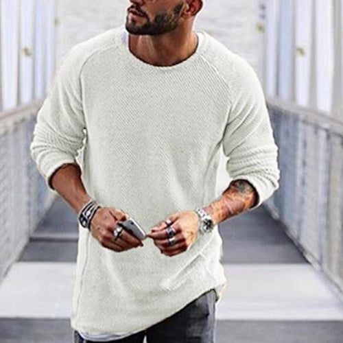 Men's Casual Round Neck Pure Colour Sweater