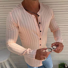 Load image into Gallery viewer, Simple Round Neck Stripe Shirt