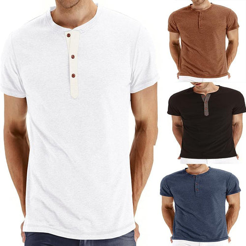 Men's Simple Pure Colour Single-Breasted T-Shirt