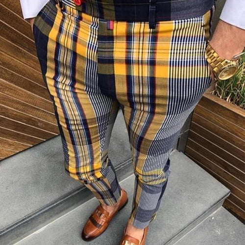 Casual Men's High-Waist Plaid Printing Pencil Pants