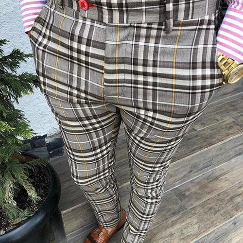 Men's Plaid Printed High-Waisted Pencil Pants