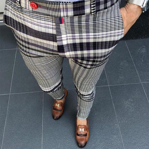 Fashion Casual  Men's Plaid Printing Casual Pencil Pants