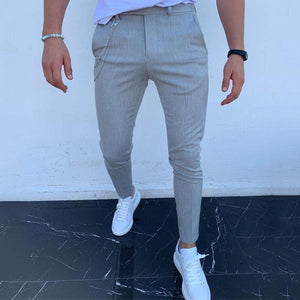 Men's Pure Colour High-Waist Pencil Pants