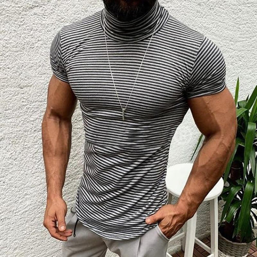 Fashion Stand Collar Striped Printed Short Sleeve Tight T-Shirts
