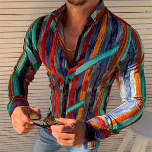 Men's Lapel Single Breasted Long Sleeve Print Shirt