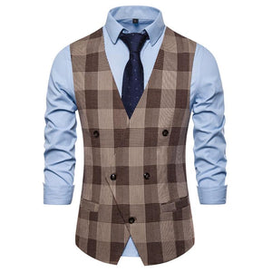 Fashion Plaid Big V-Neck Business Suit Vests