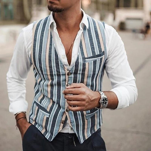 Fashion Striped Vest Stitching Fold Collar Shirts