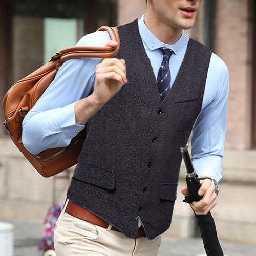 Fashion Men's Herringbone Single-Breasted Vests