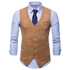 Fashion Corduroy Single-Breasted Slim Suit Vests