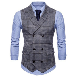 Fashion British Style Printed Slim Suit Vests