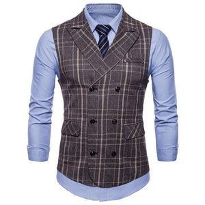 Plaid Double-Breasted Business Man's Vest