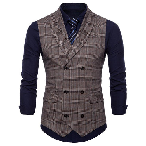 New England Style Business Casual Plaid Vest