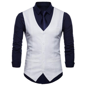 Fashion V-Neck Solid Color Pocket Slim Vests