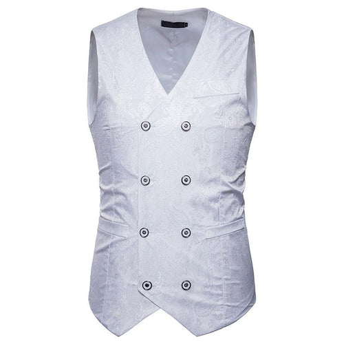 Fashion V-Neck Double-Breasted Printed Slim Vests
