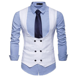 Fashion Men's U-Neck Double-Breasted Vests