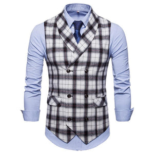 Fashion Flip Collar Plaid Printed Casual Vests