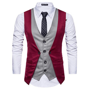 Fake Two-Piece Patchwork Business Casual Vest