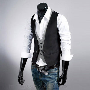 Fashion British Style Solid Color Slim Fake Two Vests