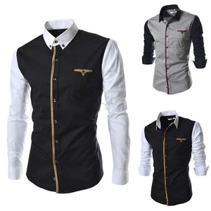 Fashion Contrast Stitching Folded Collar Long Sleeve Shirts