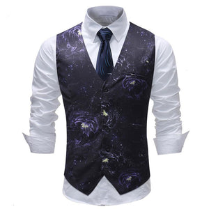 Slim Wedding Print V-Neck Vest