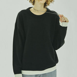 Round Neck Stitching Trend Men's Knit Sweater