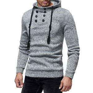Fashion Double-Breasted Hat Rope Solid Color Long-Sleeved Slim Knit Hooded Sweater