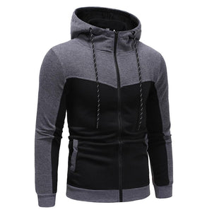 Fashion Stitching Casual Slim Zipper Hoodie Sweater