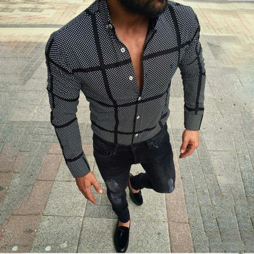 Summer New Men's Casual Black Plaid Shirt