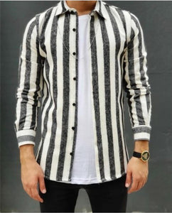 Men's Striped Fashion Cotton And Linen Warm Shirt