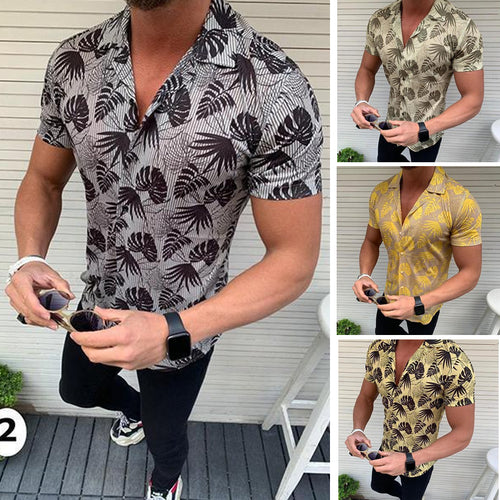 Summer Lapel Short-Sleeved Coconut Leaf Print Men's Shirt