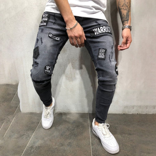 Men's Fashion Feet Embroidered Black And Gray Labeling Slim Jeans