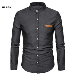 Pocket Leather Denim Long Sleeve Shirt