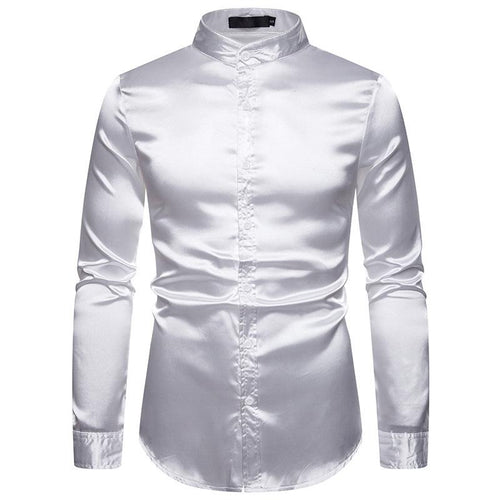 Fashion Glossy Long-Sleeved Henry Collar Shirts
