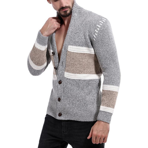 Fashion Casual Colorblock Cardigan Knit Men's Sweater