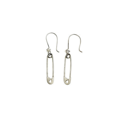 Rebel Punk Safety Pin Dangle Sterling Silver Earring - Cynthia Gale New York Jewelry