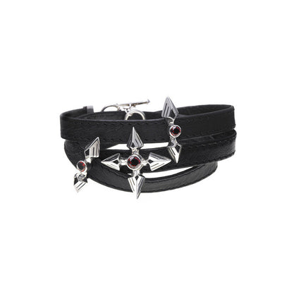 Rebel Punk Triple Wrap Leather Sterling Silver Bracelet - Cynthia Gale New York Jewelry