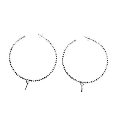 Rebel Punk Grande Hoop Sterling Silver Earring - Cynthia Gale New York Jewelry