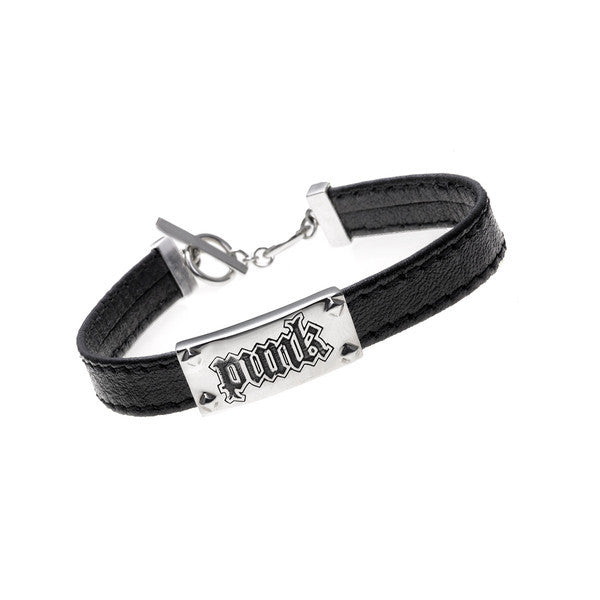 Rebel Punk Leather Sterling Silver Bracelet - Cynthia Gale New York Jewelry
