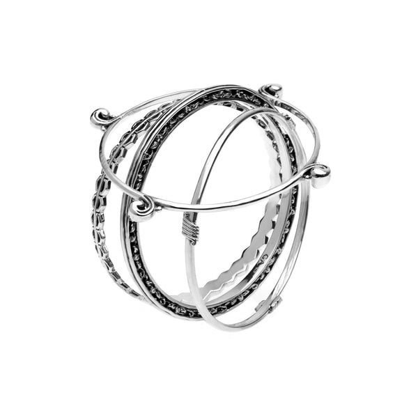 Elements Earth, Fire, Wind & Water Sterling Silver Bangles - Cynthia Gale New York Jewelry