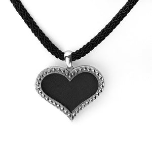 Rebel Punk Leather Heart Sterling Silver Necklace - Cynthia Gale New York Jewelry