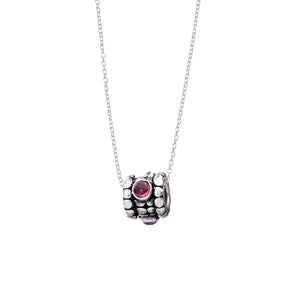 October Pink Tourmaline Sterling Silver Bead Necklace