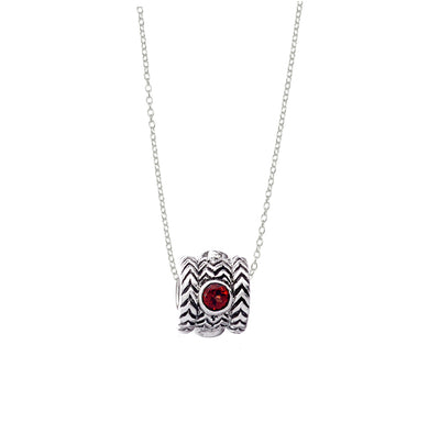 January Garnet Sterling Silver Bead Necklace