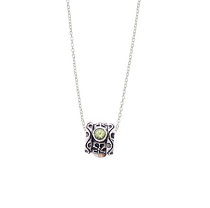 August Peridot Sterling Silver Bead Necklace