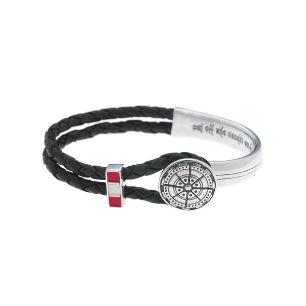 Not All Who Wander Are Lost Sterling Silver & Enamel Leather Bracelet - Cynthia Gale New York Jewelry