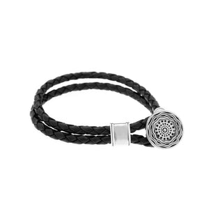 Smooth Seas Don't Make Skillful Sailors Sterling Silver Leather Bracelet - Cynthia Gale New York Jewelry