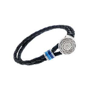 Smooth Seas Don't Make Skillful Sailors Sterling Silver & Enamel Leather Bracelet - Cynthia Gale New York Jewelry
