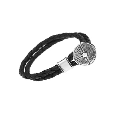 Gather Dust to Build a Mountain Sterling Silver Leather Bracelet - Cynthia Gale New York Jewelry