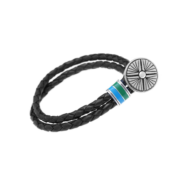 Gather Dust to Build a Mountain Sterling Silver & Enamel Leather Bracelet - Cynthia Gale New York Jewelry