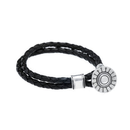 Face The Sun And The Shadow Will Fall Behind You Sterling Silver Leather Bracelet - Cynthia Gale New York Jewelry