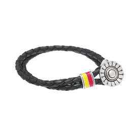 Face The Sun And The Shadow Will Fall Behind You Silver & Enamel Leather Bracelet - Cynthia Gale New York - 1